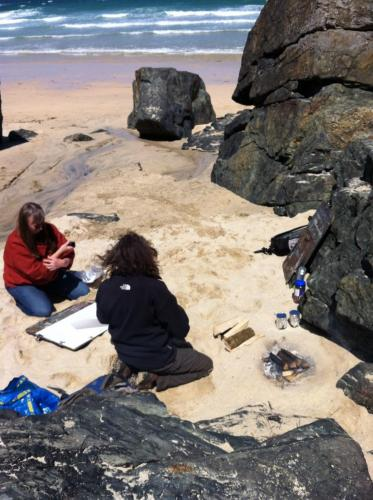 Making Charcoal on Beach 0615